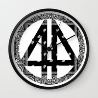 bands Wall Clocks featuring Floral bands by ART ON CLOTH