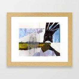 a cat. a skeleton. and a landscape.  Framed Art Print