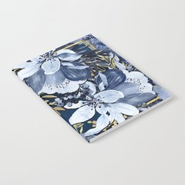Navy Blue & Gold Watercolor Floral Notebook