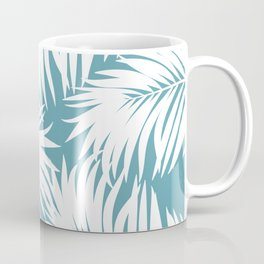 Palm Tree Fronds White on Soft Blue Hawaii Tropical Décor Coffee Mug