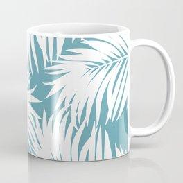 Palm Tree Fronds White on Soft Blue Hawaii Tropical Décor Coffee Mug