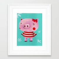 piglet Framed Art Prints featuring Piglet by Gabriela Granados