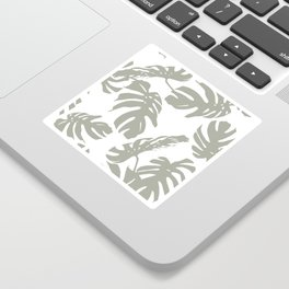 Simply Retro Gray Palm Leaves on White Sticker