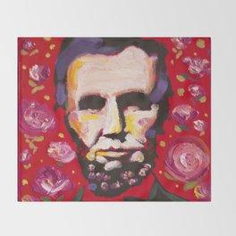 Abraham Lincoln Floral Portrait Throw Blanket