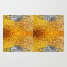 Golden foil and concrete Rug