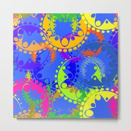 Texture of bright colorful gears and laurel wreaths in kaleidoscope style on a blue background. Metal Print