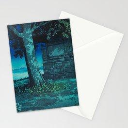 Kawase Hasui Vintage Japanese Woodblock Print Moonlight Shadows Under A Tall Tree Wooden Shrine Stationery Cards