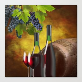 Evening Wine Tasting Art Canvas Print