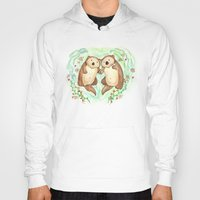 otters Hoodies featuring Otters Holding Hands by Georgia Dunn
