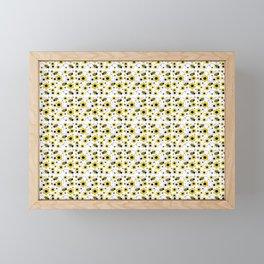 Honey Bumble Bee Yellow Floral Pattern Framed Mini Art Print