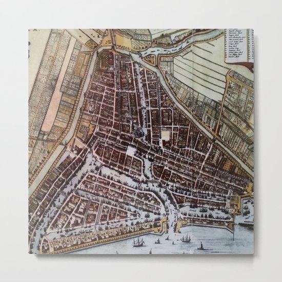Replica city map of Rotterdam 1652 Metal Print