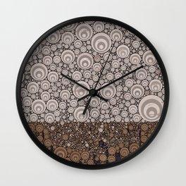 Groovy Brown Taupe Grey Circular Abstract Wall Clock