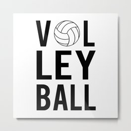 Volleyball (black lettering) Metal Print