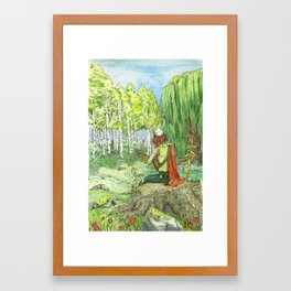 Druid Playing Lute in an Open Meadow Framed Art Print