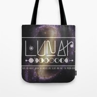 lunar Tote Bags featuring Lunar by Nate Compton