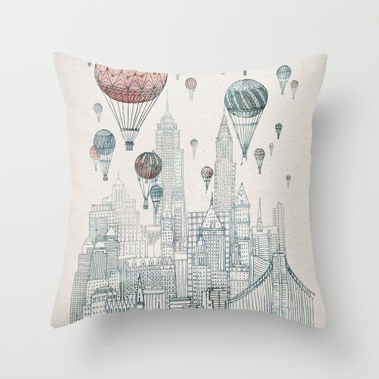 Voyages Over New York Throw Pillow
