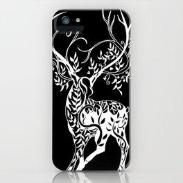 Black and White Deer art, deer print, with branch antlers, tree antlers, antler tree iPhone Case