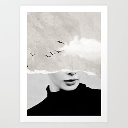 minimal collage /silence Art Print