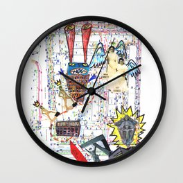 Crazy city map (collage) Wall Clock