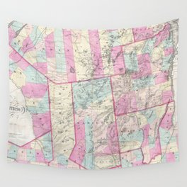 Vintage Map of The Adirondack Mountains (1867) Wall Tapestry