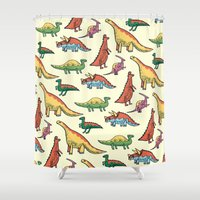 dinosaurs Shower Curtains featuring DINOSAURS! by Sonny Ross