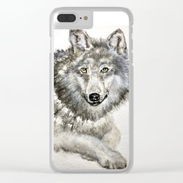 Majestic winter wolf; is she smiling or about to bite? cute animals Clear iPhone Case