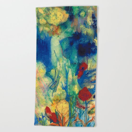 Fairy with Red Flowers Beach Towel