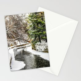 The Riverwalk in Winter Stationery Cards
