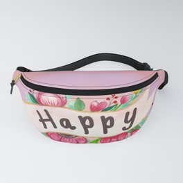 Watercolor Happy Flowers Banner Fanny Pack