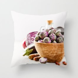Fresh organic purple fruits and vegetables Throw Pillow
