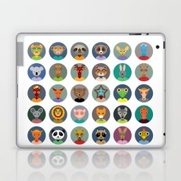 Set of animals faces circle icons set in Trendy Flat Style. zoo Laptop & iPad Skin