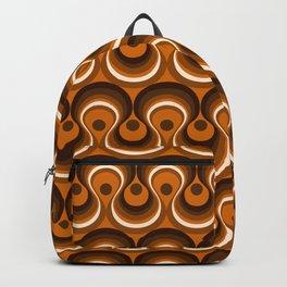 Brown, Orange & Ivory Wavy Lines Retro Pattern Backpack