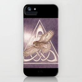 Great Horned Owl Over Celtic Triskeles iPhone Case