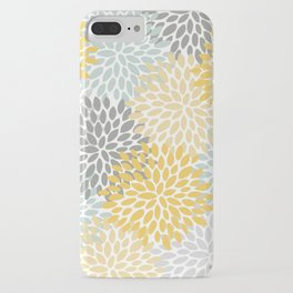 Floral Pattern, Yellow, Pale, Aqua, Blue and Gray iPhone Case