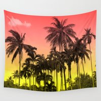 tropical Wall Tapestries featuring palm tree  by mark ashkenazi