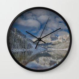 Maroon Bells Reflection In The Maroon Lake With Fresh Snow Aspen Colorado Usa for #society6 Wall Clock