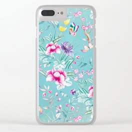 Pastel Teal Vintage Roses and Butterflies Pattern Clear iPhone Case