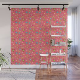 Doodle Birds - Spring Pattern in Pink Wall Mural