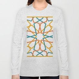 Orange Yellow Turquoise Geometric Tile Pattern Long Sleeve T-shirt