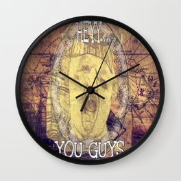 Hey You Guys Authentic Gold Sloth Wall Clock