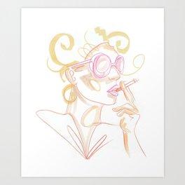 """air"" - retro cigarette bombshell Art Print"