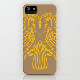 yellow double-headed eagle on brown background iPhone Case
