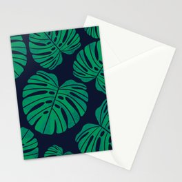 Kelly Green Monstera Leaves Stationery Cards