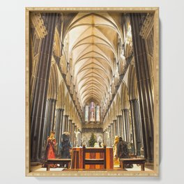 Salisbury Cathedral At Christmas Time Serving Tray