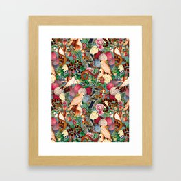 Floral and Animals pattern Framed Art Print