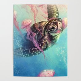 Sea Turtle and Jellyfish! Poster