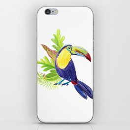 watercolor illustration of a tropical toucan bird iPhone Skin