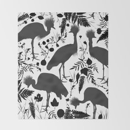 Black crowned crane with grass and flowers black silhouette Throw Blanket
