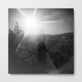 Sunlight, Shadows and Self-reflection in Black and White - Film Double Exposure Photograph Metal Print