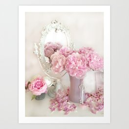 Shabby Chic Pink Peonies White Mirror Romantic Cottage Prints Home Decor Art Print
